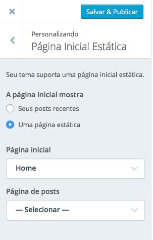 Configurando uma Página Inicial Estática
