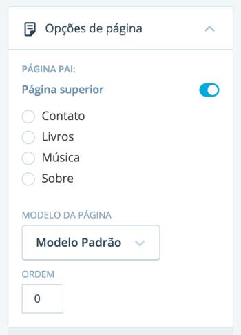 Opções de Página