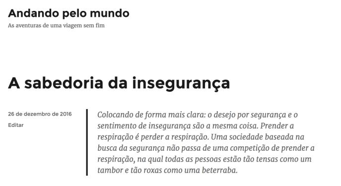 Um post do blog visto em seu idioma original, o português.