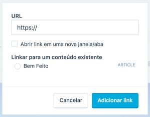 Digite o URL para a imagem que quer linkar.