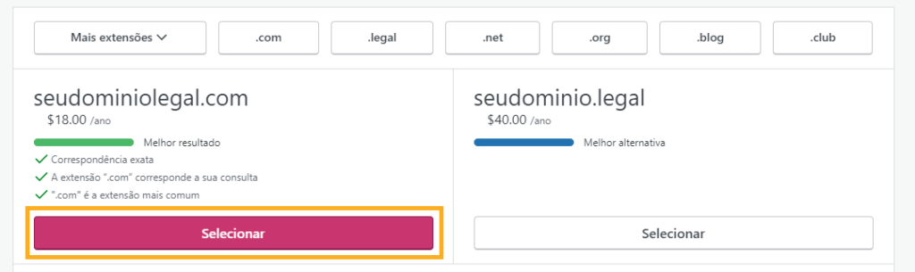 Botão selecionar domínio customizado